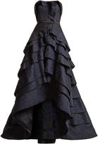 Oscar de la Renta Strapless floral silk-cloqué gown