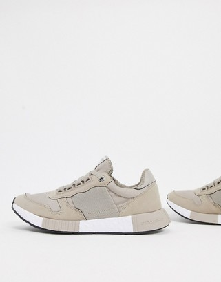 Jack and Jones runner sneakers with elasticated detail in stone