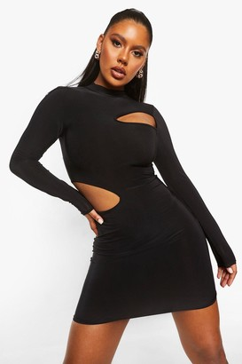 boohoo Slinky High Neck Cutout Bodycon