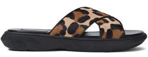 Michael Kors Leopard-print Calf Hair Slides
