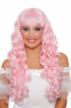 Dreamgirl Women's Long Curly Pink Wig One Size