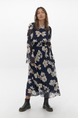 Ghost Leia Midi Dress - Blue S at Urban Outfitters