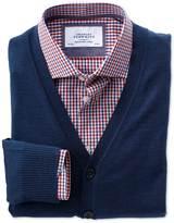 Mid Blue Merino Wool Cardigan Size Large By Charles Tyrwhitt