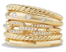David Yurman Stax Wide Ring with Diamonds in 18K Gold