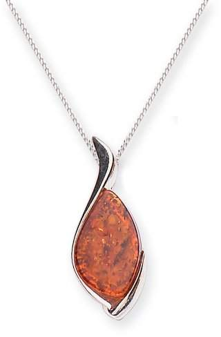 Goldmajor Sterling Silver and Flat Amber Stone Large Pendant on 45.7cm Curb Chain