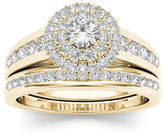 MODERN BRIDE 7/8 CT. T.W. Diamond 10K Yellow Gold Halo Bridal Ring Set