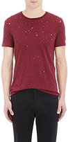 "Barneys New York Men's Distressed ""Acid Rain"" T-Shirt-BURGUNDY"