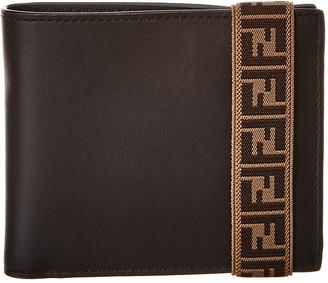 Fendi Ff Logo Tape Leather Bifold Wallet