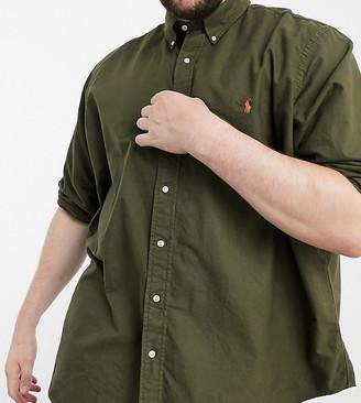 Polo Ralph Lauren Big & Tall player logo garment dye oxford shirt in olive