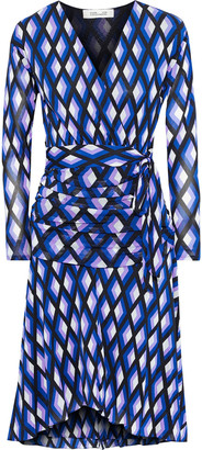Diane von Furstenberg Rilynn Wrap-effect Printed Stretch-mesh Dress
