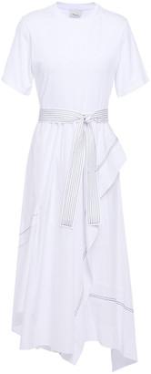 3.1 Phillip Lim Asymmetric Paneled Cotton-poplin And Jersey Midi Dress