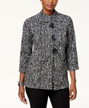 JM Collection Printed Three Button Jacket, Created for Macy's