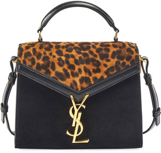 Saint Laurent Cassandra Mini Suede Leopard Top-Handle Bag