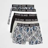 River Island Boys grey floral geo trunks multipack