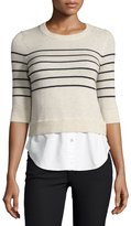 Veronica Beard Knot Mariner Combo Sweater, Ivory
