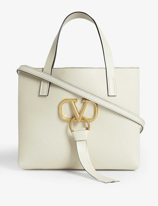 Valentino V logo leather tote