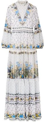 Erdem Cassandra Tiered Floral-print Silk-chiffon Gown