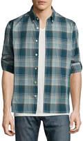 John Varvatos Slim-Fit Plaid Sport Shirt, Blue