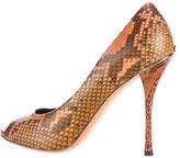 Gucci Snakeskin Peep-Toe Pumps