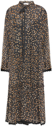See by Chloe Crochet-trimmed Flocked Printed Silk-chiffon Midi Dress