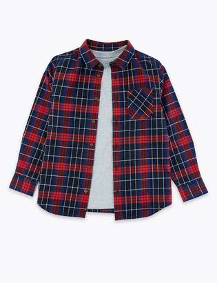 Marks and Spencer Cotton Checked Shirt (3-16 Years)