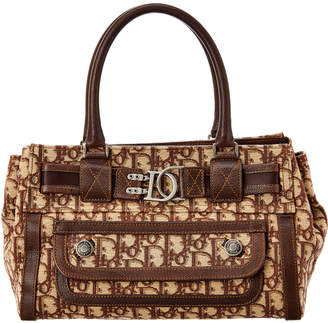 Christian Dior Brown Trotter Canvas Flight Handbag