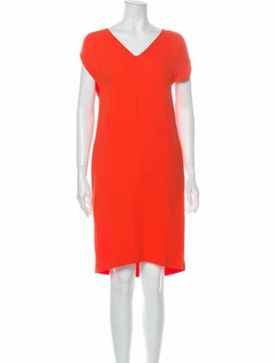 Fendi V-Neck Knee-Length Dress Orange