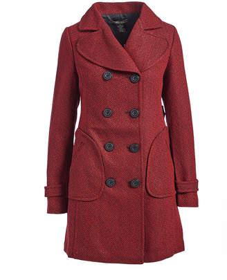 Vertigo Paris Women's Pea Coats GARNET - Garnet Herringbone Peacoat - Women