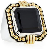 Lagos Deco Emerald-Cut Black Spinel Statement Ring, Size 7