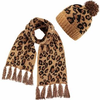Geyoga Leopard Pattern Soft Beanie Hat Warm Faux Fur Pom Knitted Hat with Leopard Pattern Tassel Scarf for Women