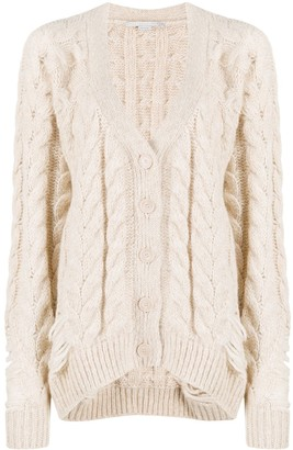 Stella McCartney Distressed-Effect Cable-Knit Cardigan