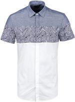 Antony Morato White & Blue Mixed Fabric Short Sleeve Shirt