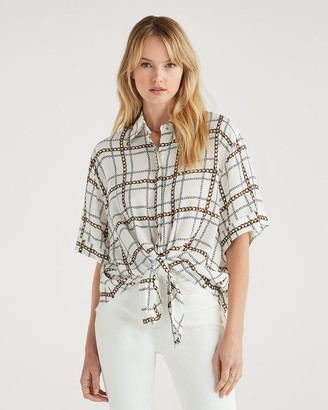 7 For All Mankind Short Sleeve Tie Front Shirt in Chain Print