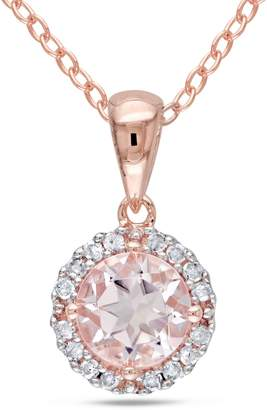 Concerto Morganite Pink Plated Silver and 0.85 CT. T.W. Diamond Halo Necklace
