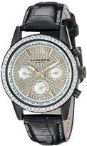Akribos XXIV Women's AK871BK Crystal Accented Two Time Zone Pave Dial Black Leather Strap Watch