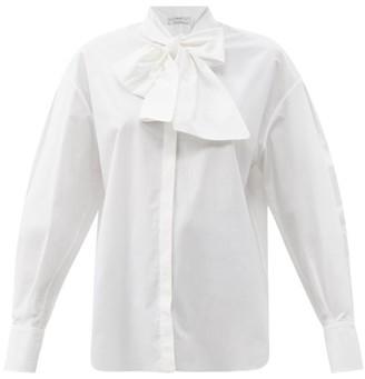 Another Tomorrow - Oversized Tie-neck Cotton-poplin Shirt - White
