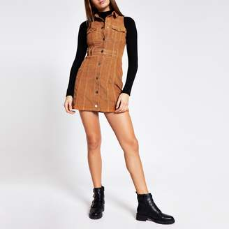 River Island Womens Brown corduroy sleeveless shirt mini dress