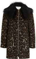 River Island Girls brown leopard print faux fur coat