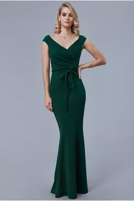 Goddiva Emerald Pleated Tie Detail Maxi Dress