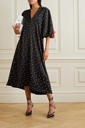 Victoria, Victoria Beckham - Oversized Floral-print Crinkled-satin Maxi Dress - Black