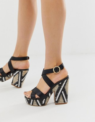Qupid raffia platform wedges