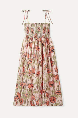 Tory Burch Smocked Floral-print Cotton-voile Midi Dress - Pink