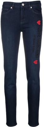Love Moschino Mid-Rise Logo-Embroidered Skinny Jeans