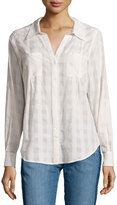 Joie Cartel Button-Front Plaid Cotton Blouse, Porcelain