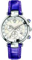 Versace Women's 'REVE' Swiss Quartz Stainless Steel and Leather Casual Watch, Color:Purple (Model: VAJ030016)