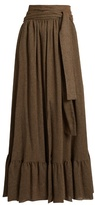 See by Chloe Waist-tie gathered gauze maxi skirt
