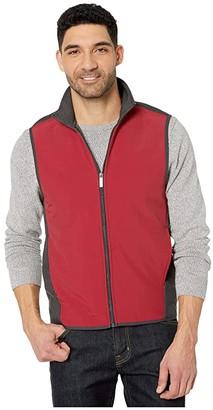 Perry Ellis Color Block Stretch Full Zip Fleece Vest (Red Dahlia) Men's Clothing