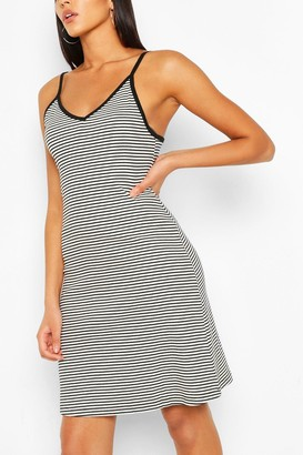 boohoo Striped Strappy Swing Dress