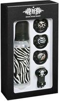 Rock Star Baby Zebra Print Bottle And Pacifier Set