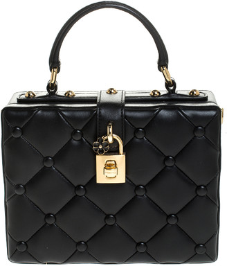 Dolce & Gabbana Black Lambskin Quilted Box Top Handle Bag